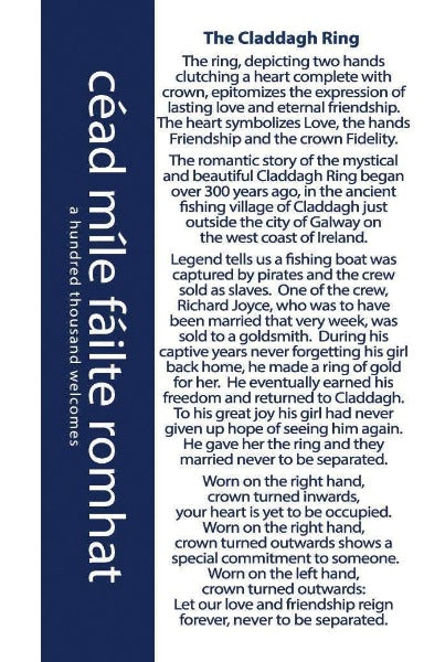 the card with the story of the claddagh ring story