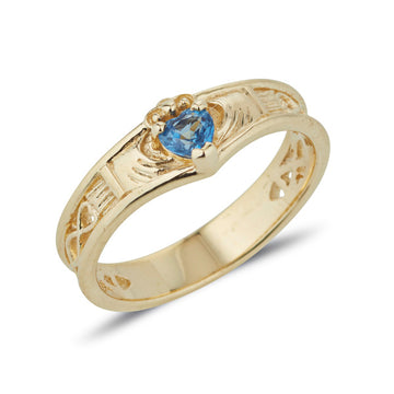 9ct yellow gold wishbone claddagh ring with heart shaped sapphire in the middle