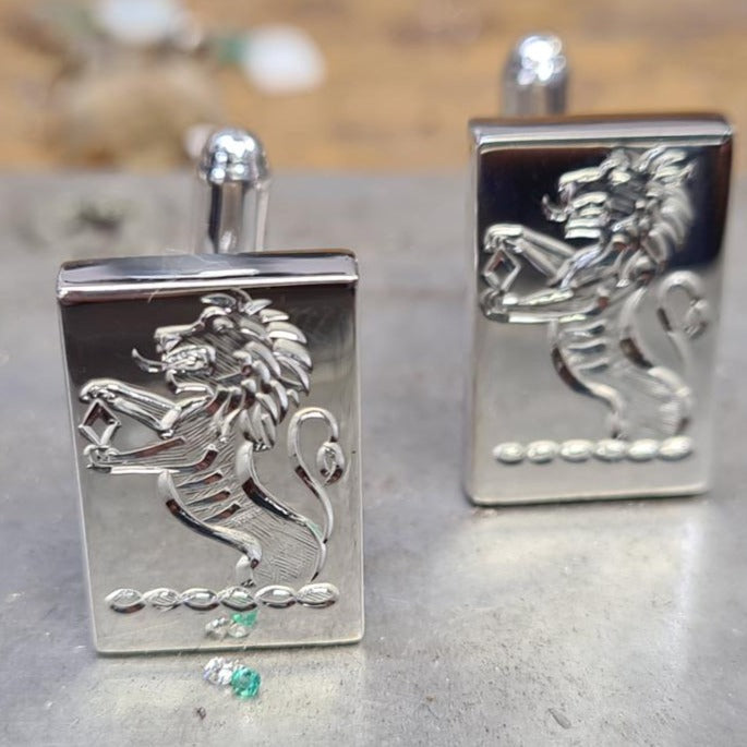 sterling silver cuff links with family crest hand engraved