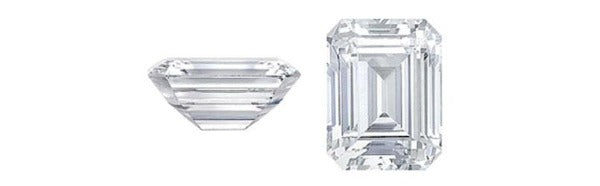 this picture shows an emerald cut diamond from 2 angles the top table and the full side view