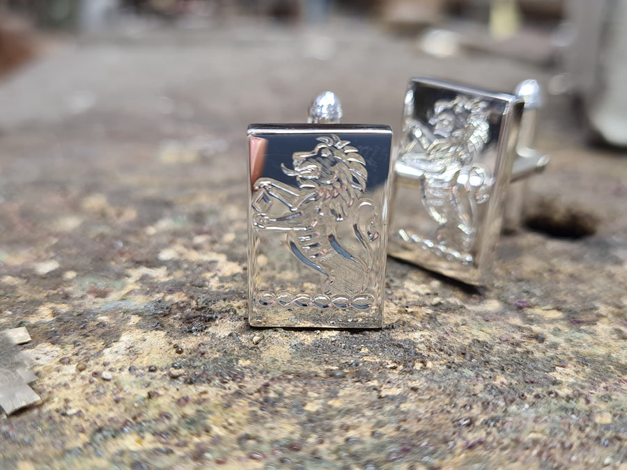 sterling silver family crest hand engraved cuff links