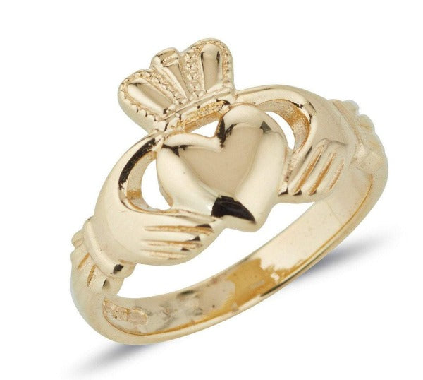 gents gold classic claddagh ring