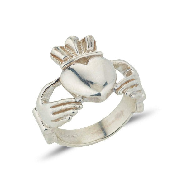 9ct white gold extra big and heavy gents statement claddagh ring