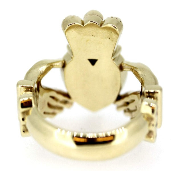 9ct yellow gold extra big and heavy gents statement claddagh ring, from the back so you can see the claddagh ring is completely solid