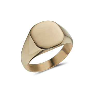9ct yellow gold heavy gents cushion shaped plain signet ring