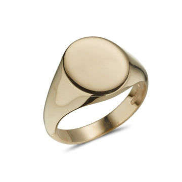 9ct yellow gold oval heavy plain signet ring