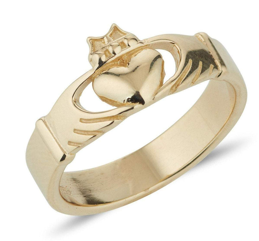 yellow gold modern claddagh ring with a plain band and the claddagh to the front