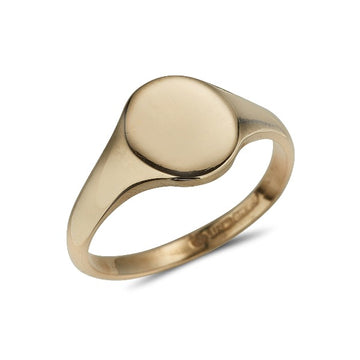 9ct yellow gold plain polished ladies signet ring
