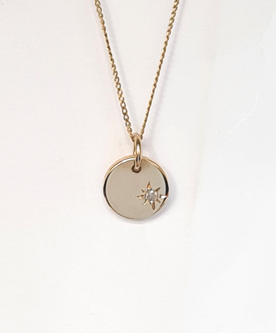 Personalised small disc and chain gold