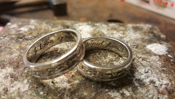 engraving on the inside of 2 rings