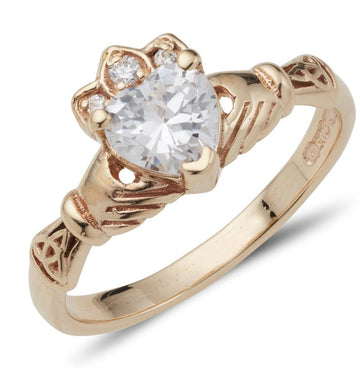 Claddagh Ring with Birth Stone in 9ct gold Aoine 5mm