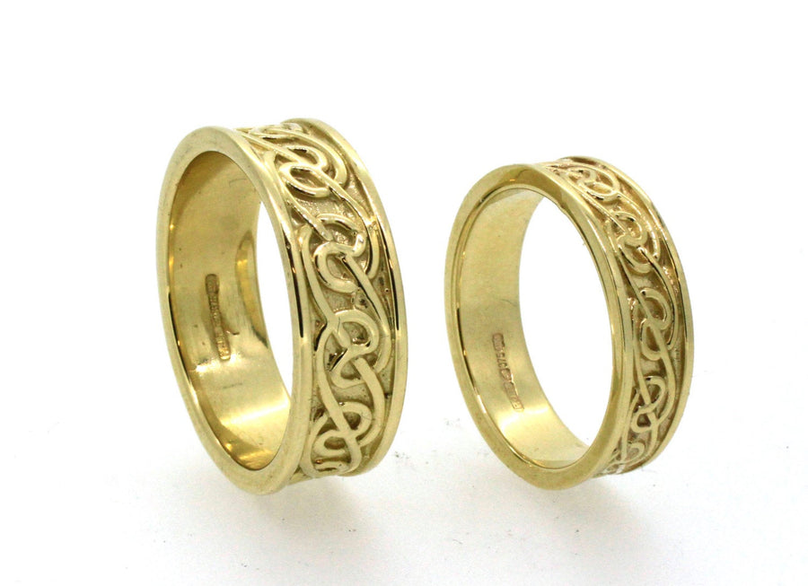 Wedding Ring Set 9ct gold Celtic Lovers knot