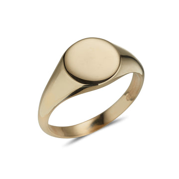 yellow gold oval plain polished ladies signet ring