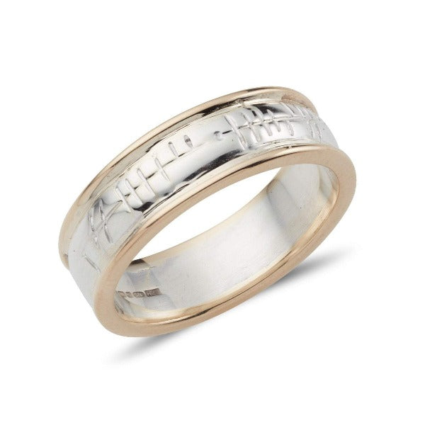 2 colour gold and silver ogham wedding band, the centre part is silver and the outer rims are in yellow gold