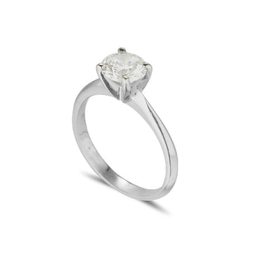 platinum diamond solitaire engagement ring with 4 claws