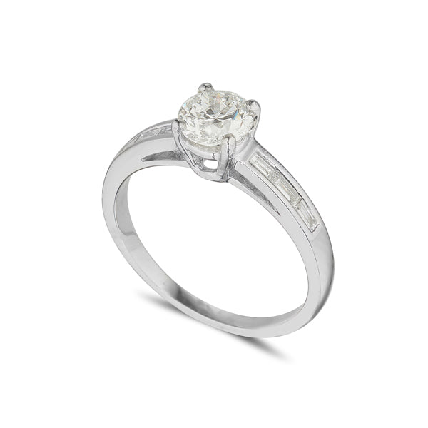 Platinum Solitaire ring 4 claw with baguette set shoulders