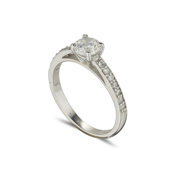 Solitaire ring 4 claw with Diamond set shoulders .75