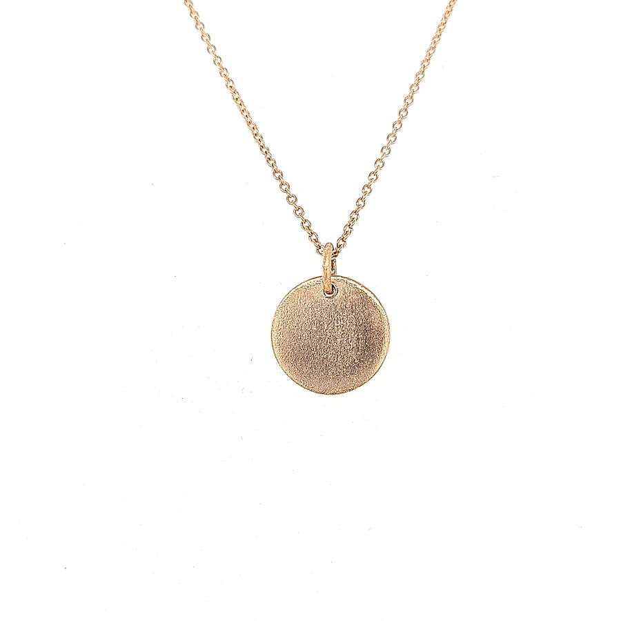 red gold plain round disc and chain,  ready for engraving