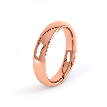 rose gold classic 4mm court shaped wedding ring