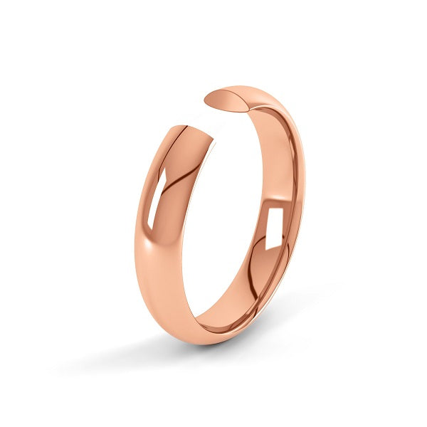 rose gold classic 3mm court shaped wedding ring