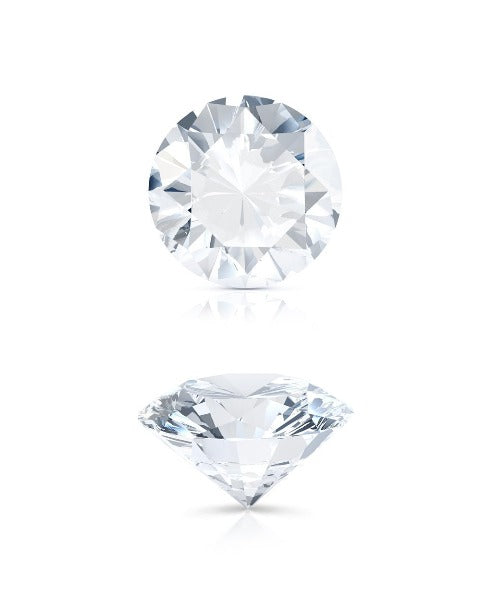 this picture shows a round brilliant cut diamond from 2 angles the top table and the full side view