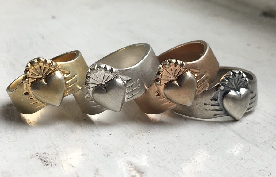group shop of the 4 different rustic claddagh rings
