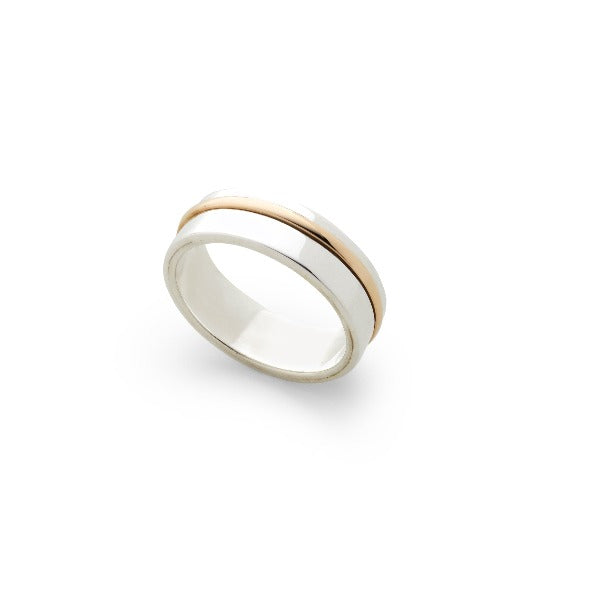 sterling silver flat wedding band with a thin yellow gold ring off set