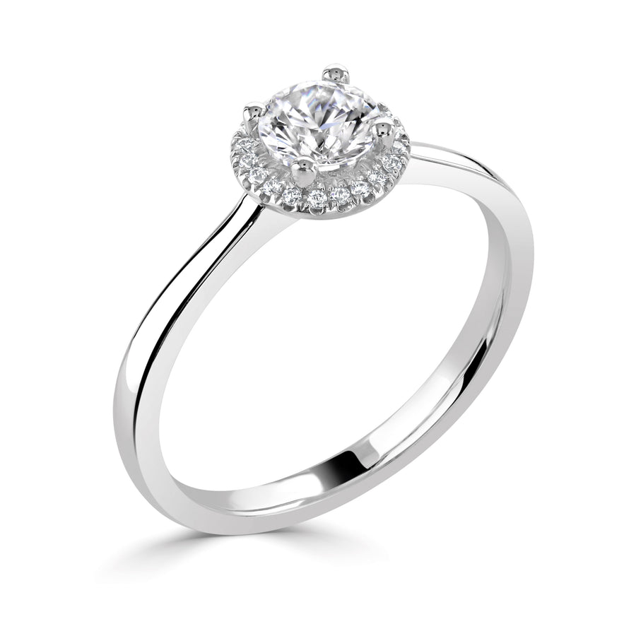 simple diamond round halo engagement ring in white gold