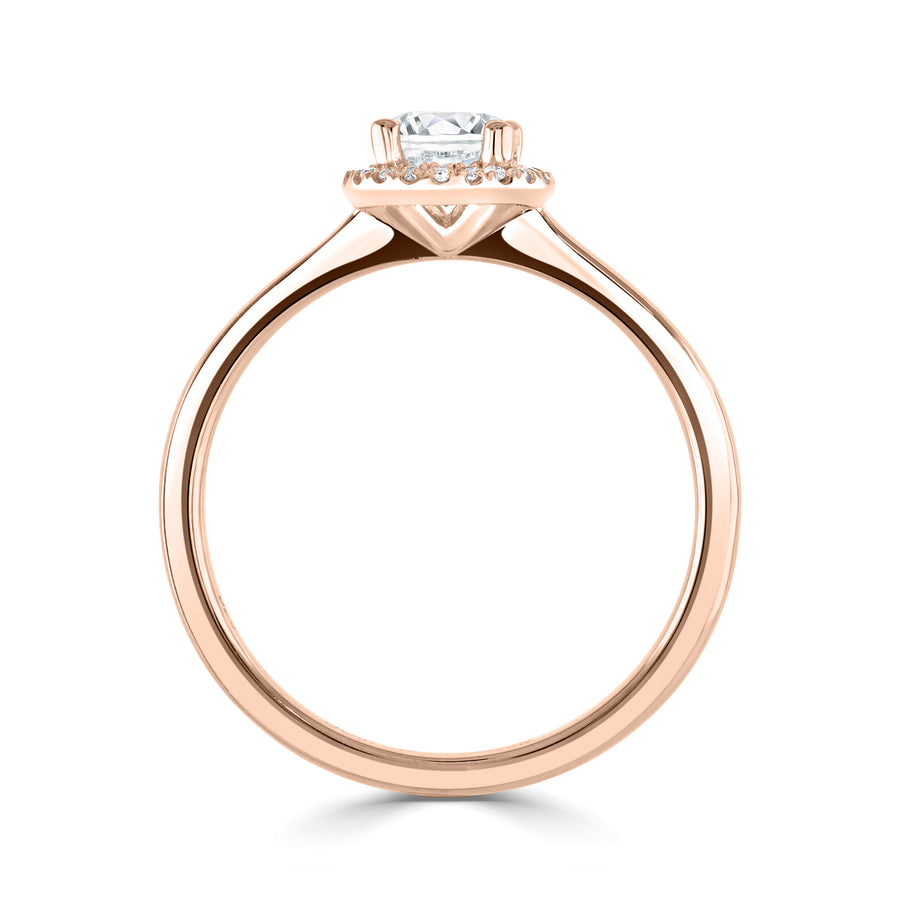 simple diamond round halo engagement ring in rose gold