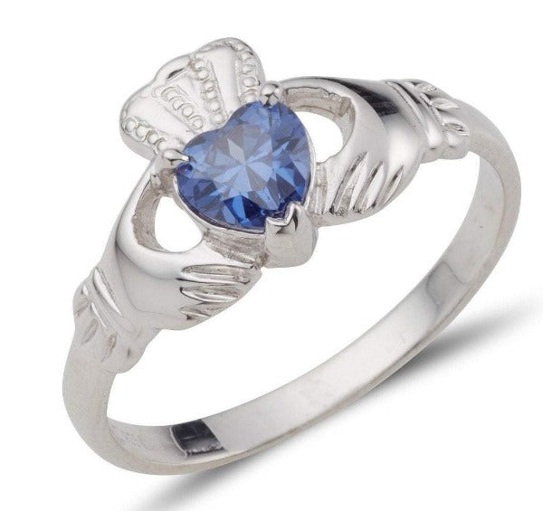 white gold birthstone claddagh ring with heart shaped birthstone
