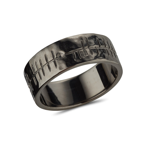 black rhodium finish celtic ogham wedding ring