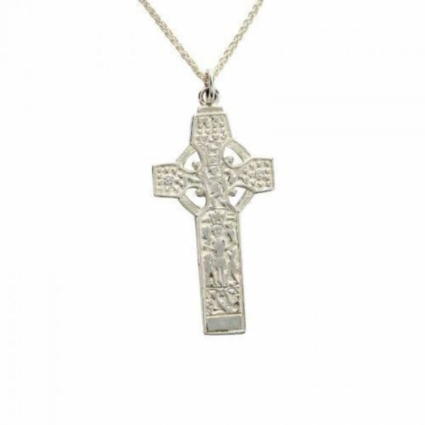 sterling silver celtic cross chunky on a chain,  this is a replica of the high cross of durrow