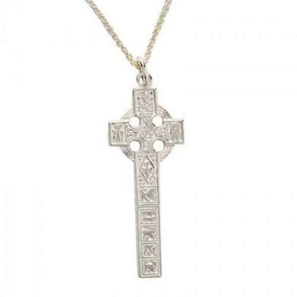 sterling silver celtic cross long and chunky on a chain, this is a replica of the high cross of Moone