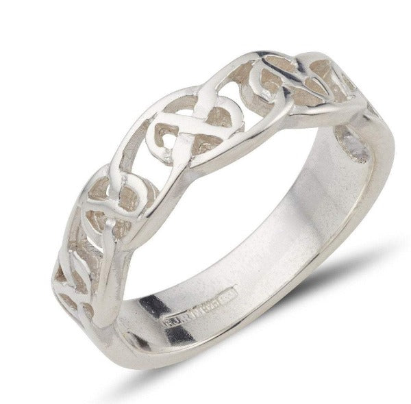 Sterling silver celtic design ring circle of life pattern, this is a 1/2 design 1/2 plain ring with a pierced out design.  this is a wider 8mm version