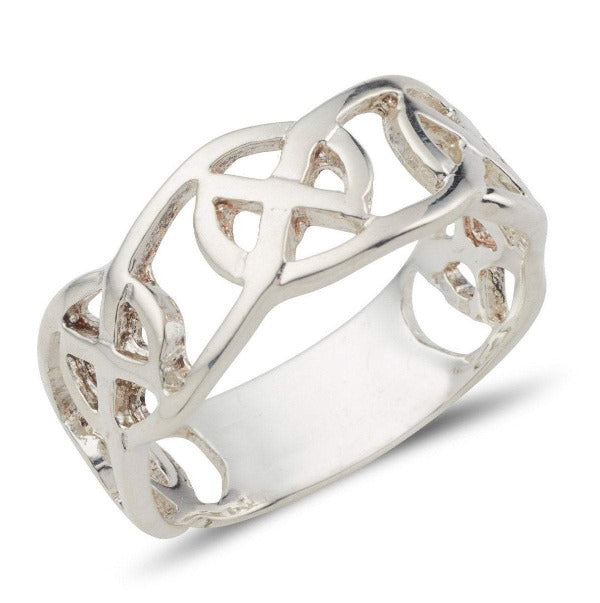 Sterling silver celtic design ring circle of life pattern, this is a 3/4 design 1/4 plain ring with a pierced out design.  this is a wider 8mm version