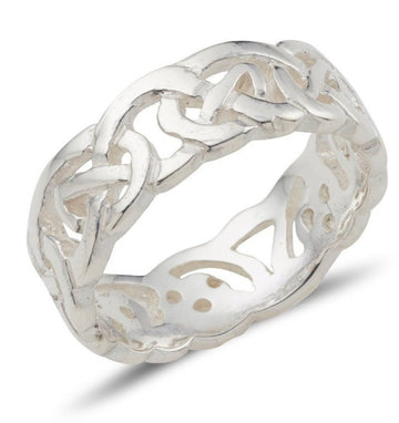 sterling silver celtic design ring with a fully pierced out celtic pattern, ideal for both male an female, it is 7.5mm wide