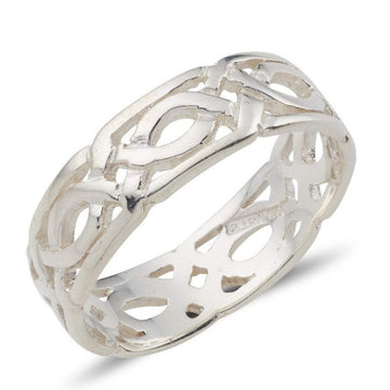 sterling silver celtic design ring it is 8mm wide and the design is fully around the ring,  it is a pierced out design