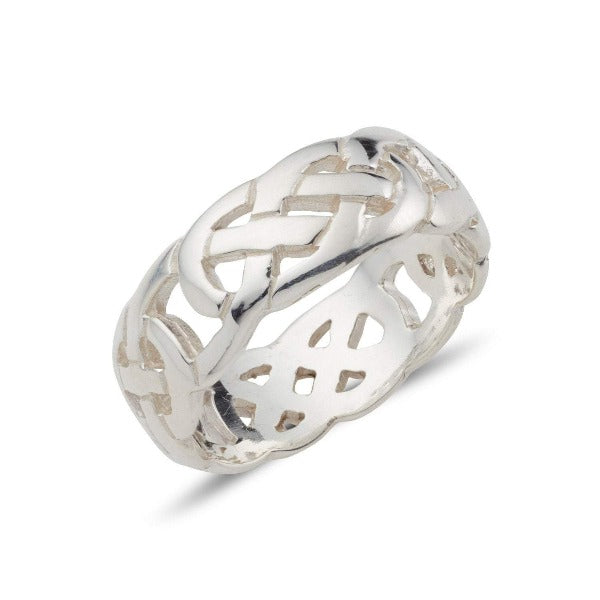 sterling silver celtic design ring with a fully pierced out celtic pattern, ideal for both male an female, it is 7.5mm wide and has a green bezel set stone in the middle