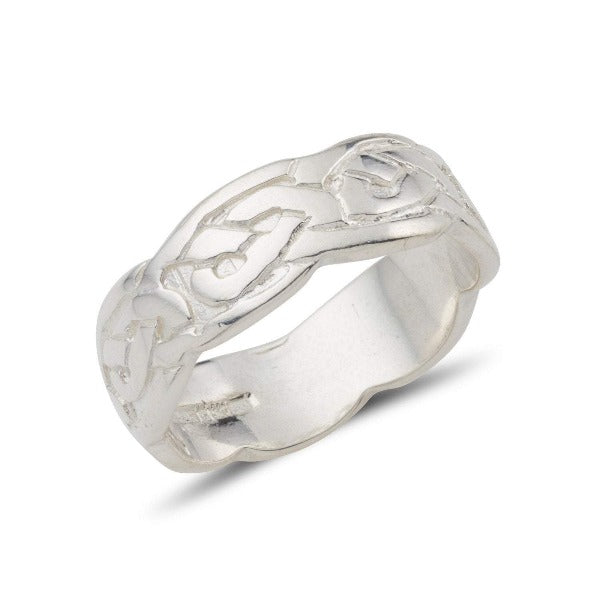 sterling silver celtic design ring with an embossed pattern and a wavy edge, this is the ladies 5mm version