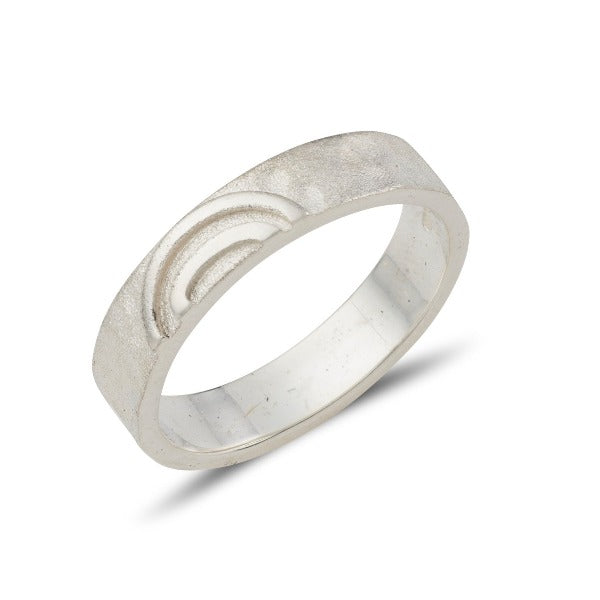 sterling silver celtic spiral ring split in 2, one half goes to the lady and one half goes to the man, this ring has a matt hammered finish