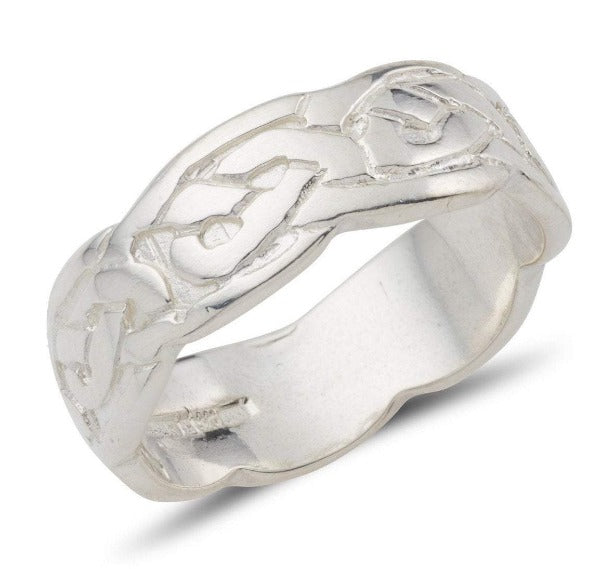 sterling silver celtic design ring embossed pattern 7mm wide