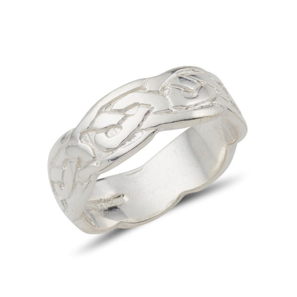 sterling silver celtic design ring embossed pattern 6mm wide