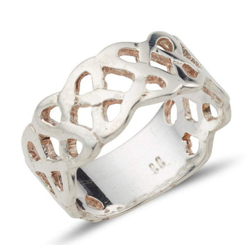 sterling silver 8.5 millimetre pierced out celtic band with crisscross bands that represent a celtic snake, it has a blank piece at the back about 1/4 of the ring to help with sizing