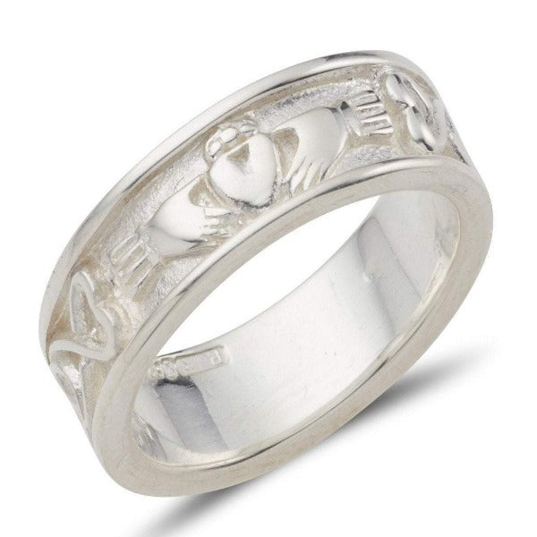 This piece is a Gents ring that measures 8mm wide. This mens sterling silver claddagh ring has the claddagh to the front and a celtic pattern around the rest of the ring