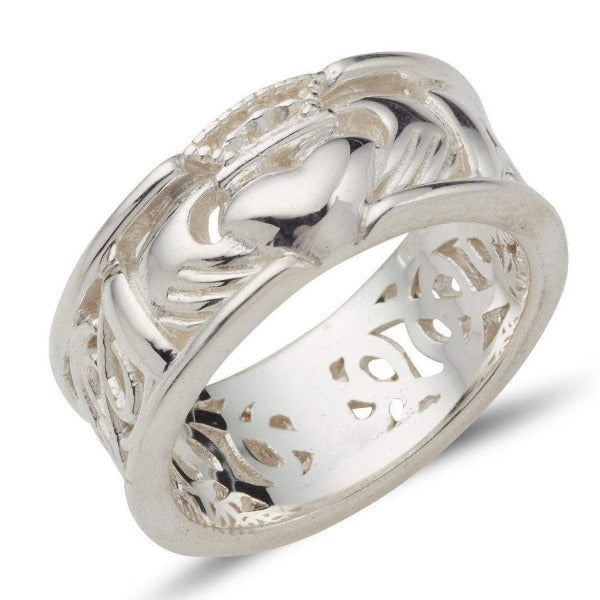 sterling silver 8mm wide calddagh band, there is a claddagh symbol in the centre of the ring with a pierced celtic design going around the ring