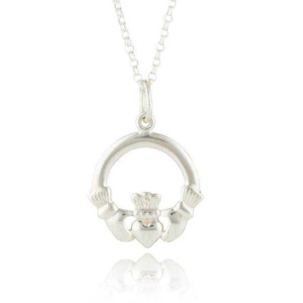 sterling silver classic claddagh charm on a necklet