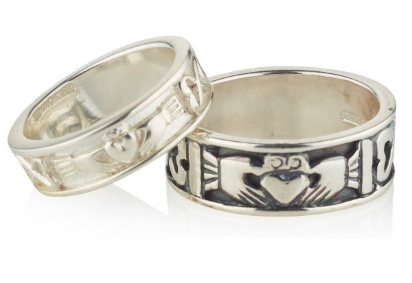 sterling silver claddagh wedding bands matching his and hers, the ladies is 6mm and the gents is wider at 8mm,  the gents is shown with an oxidised finish