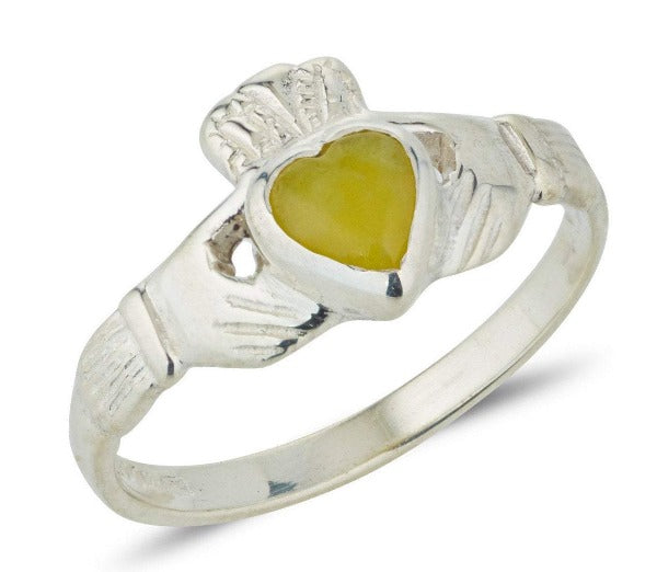sterling silver ladies claddagh ring with connemara marble heart shaped stone