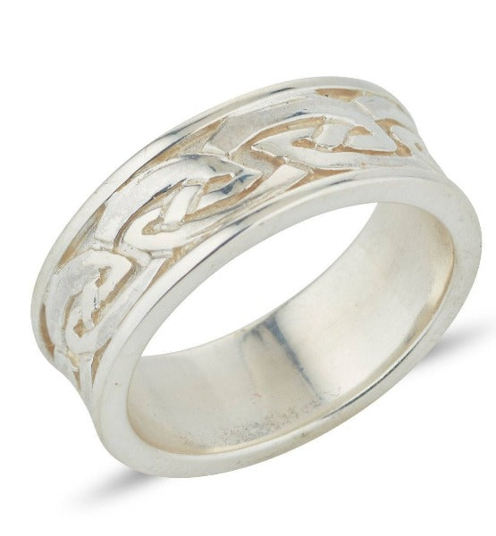 sterling silver gents celtic design ring, the ring is 6.5mm with the celtic design in the middle with straight edges