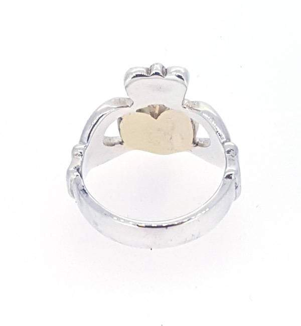 sterling silver gents heavy solid claddagh ring with gold heart from the inside you can see its solid